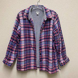 L.L. Bean Plaid Flannel Fleece Lined Shacket Sz M
